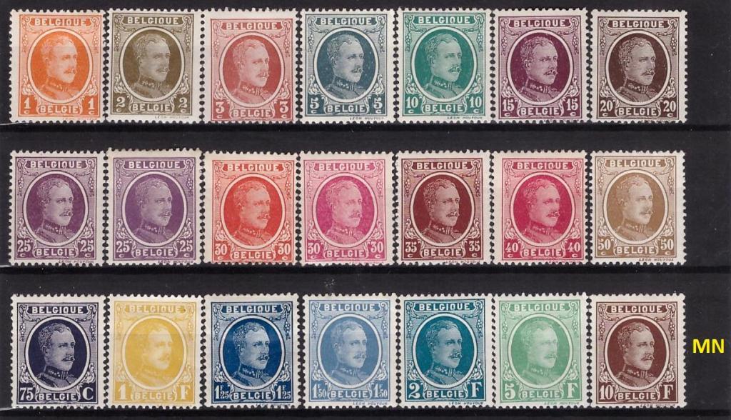 Бельгия, 1922-1926, № 172-180,187,188,210-217, € 230 ,MN, полн., редкая серия