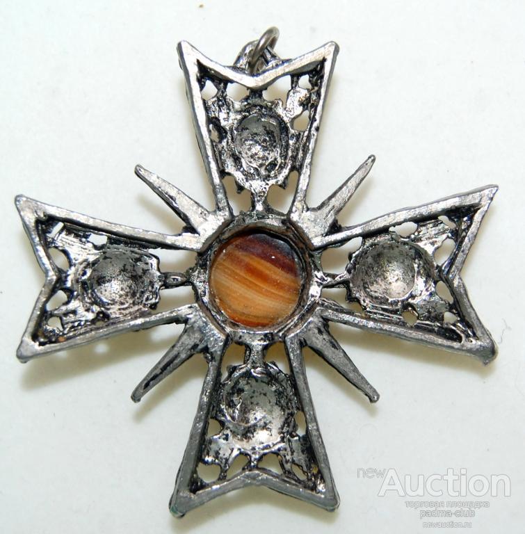 Кулон Мальтийский крест с агатовым стеклом.