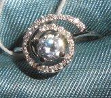 Кольцо с фианитами Ракушка. Белое Золото 585.