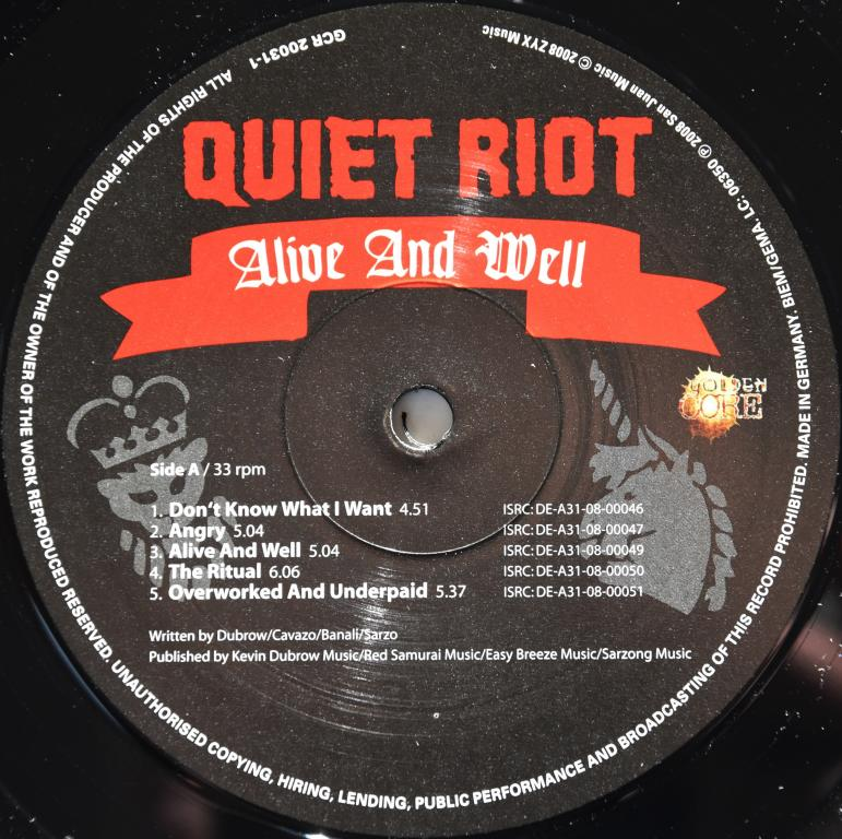 "Quiet Riot ""Alive And Well"" 2008 Lp"