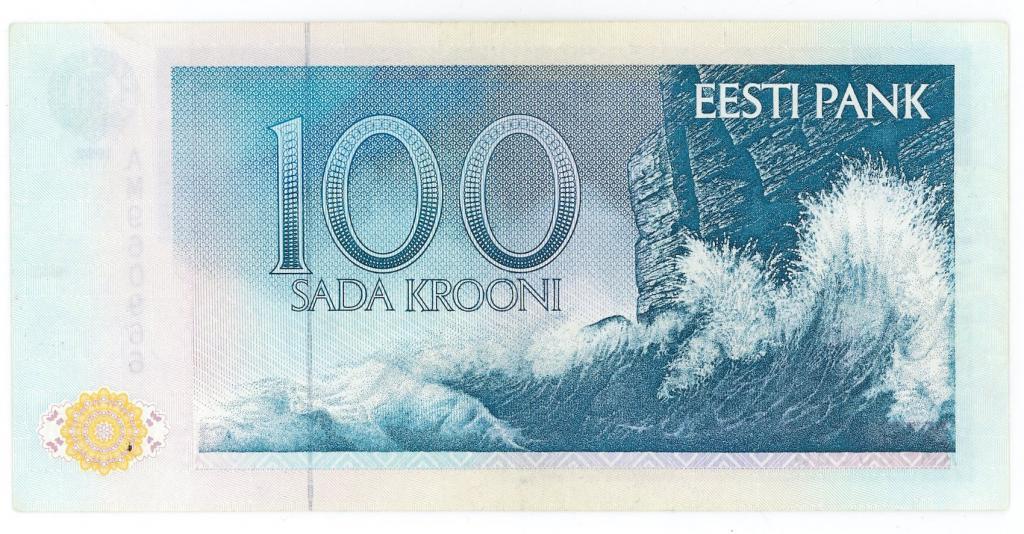 100 крон 1992 год Эстония. RR! Состояние АUNC