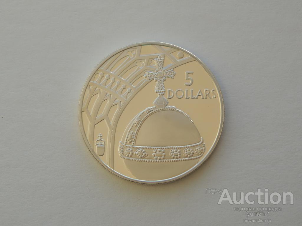 Соломоновы острова. 5 долларов 2002 г.  Аg 925, позолота
