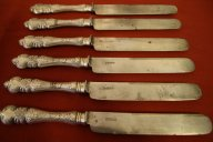 Комплект столовых ножей серебро 84 Морозов 27.5 см. 707 грамм ОЧЕНЬ КРАСИВЫЕ
