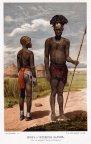гравюра Хромолитография Африка воин и женщина Бариев 1898 г  СПБ