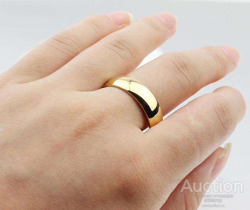 Кольцо позолоченное, стальное