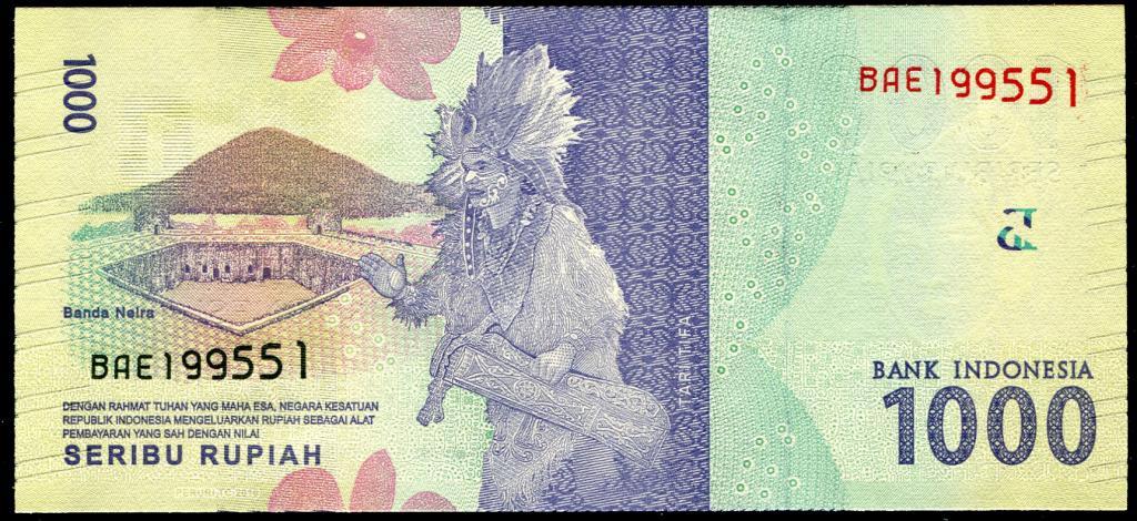 Индонезия 1000 рупий 2016 г. (Pick NEW) UNC