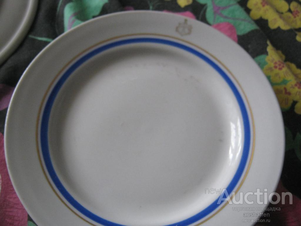 Тарелка ВМФ СССР десертная. Набор 6 штук. Дулёво.