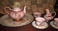 Кофейный сервиз - розовый фарфор, Коростень.