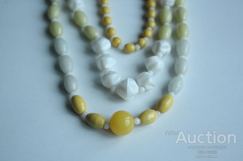 Бусы ожерелье пластик винтаж Весенняя гамма 57см