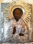 Икона Св. Николай , 19 век! Оклад посеребрение, венец золочение!