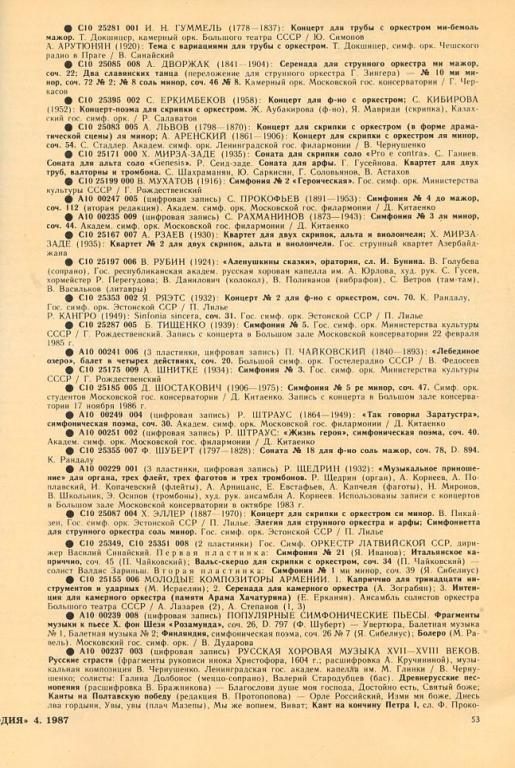 """МЕЛОДИЯ. №4, 1987. Каталог-бюллетень Всесоюзной фирмы грампластинок """"Мелодия""""*"""