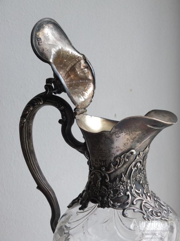 Графин.Серебро,хрусталь. Англия,Лондон,серебро 925 пробы,1899 год.