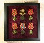 Витрина багет 240*250 (шесть медалей) для значков, медалей, пуговиц и др. коллекций. Подарки, скидки