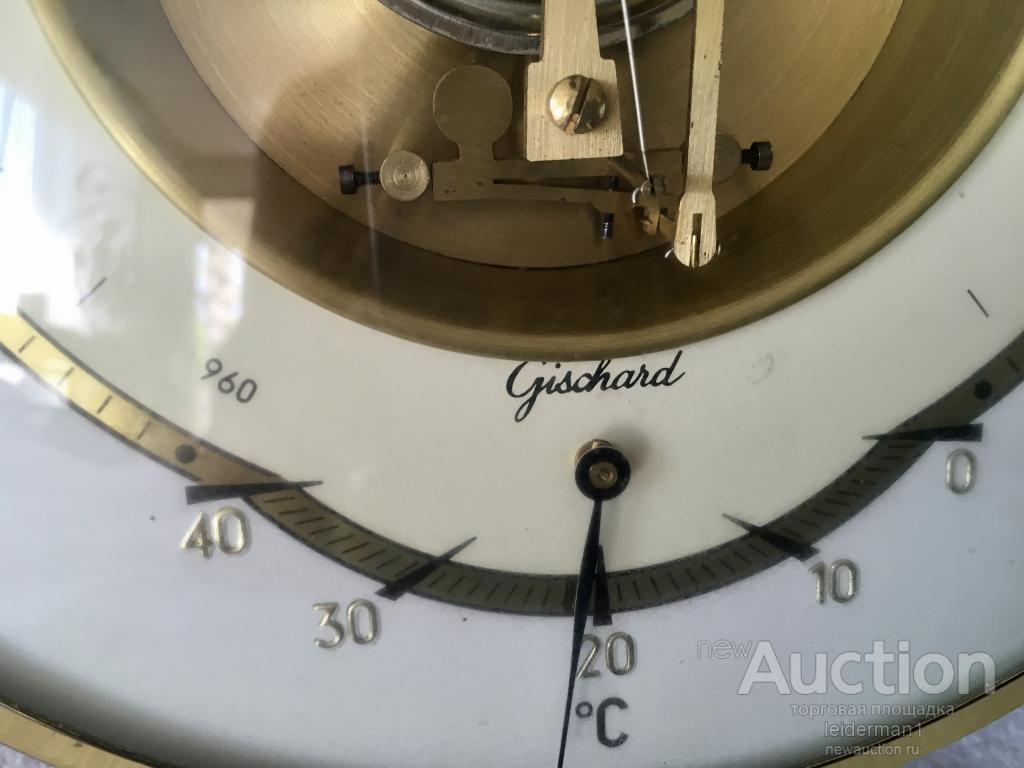 Стар.барометр. Дуб Латунь. Германия 20 см 0,7 кг