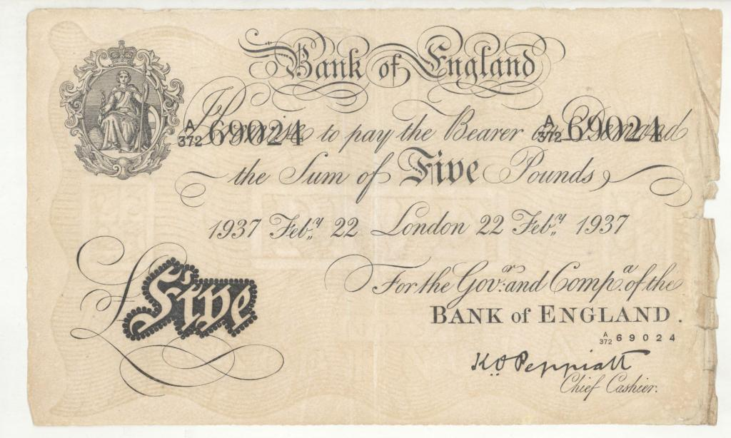 5 фунтов стерлингов 1937год!!!ОЧЕНЬ РЕДКАЯ БОНА!!!RRR!!! ФАЛЬШАК НАПЕЧАТАННЫЙ В КОНЦЛАГЕРЕ!!!