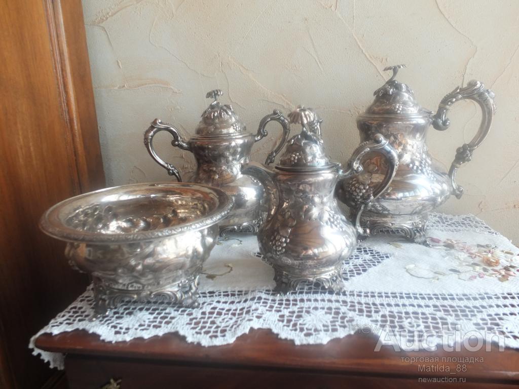 Серебряный чайный сервиз серебро 1842-1891 FRANCIS W. COOPER