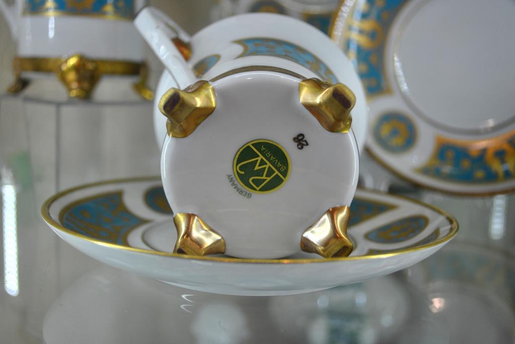 Чайная пара бирюза, форма 19 века, Бавария 1960-1974 годы