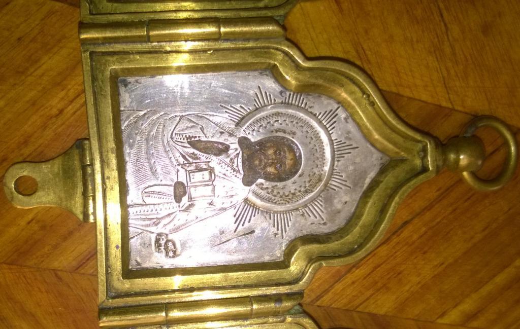 Икона. Спаситель и предстоящие. Складень походный литой. Серебро 84 проба. Бронза.
