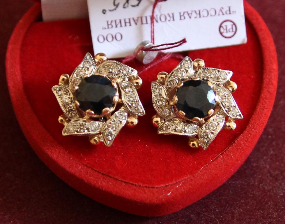 Комплект кольцо серьги и подвес сапфиры 6,63 ct и бриллианты 1.44 ct золото 585 пробы 15,66 грамм