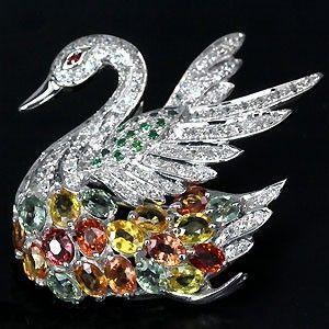 Брошь-кулон сапфир гранат серебро 925
