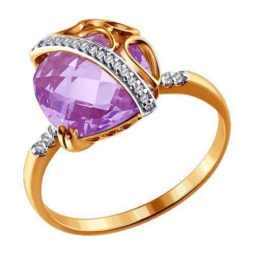 Кольцо аметист, фианиты р. 18,0 золото 585