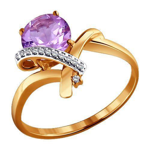 Кольцо аметист, фианиты р. 17,0 золото 585