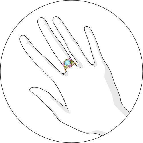 Кольцо топаз, аметист, хризолит, фианит р. 18,5 золото 585