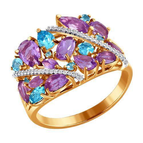Кольцо аметист, топаз, фианит р. 17,5 золото 585