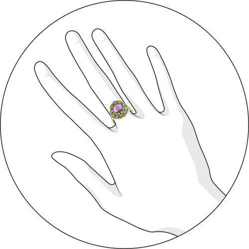 Кольцо аметист, топаз, хризолит, фианит р. 17,5 золото 585