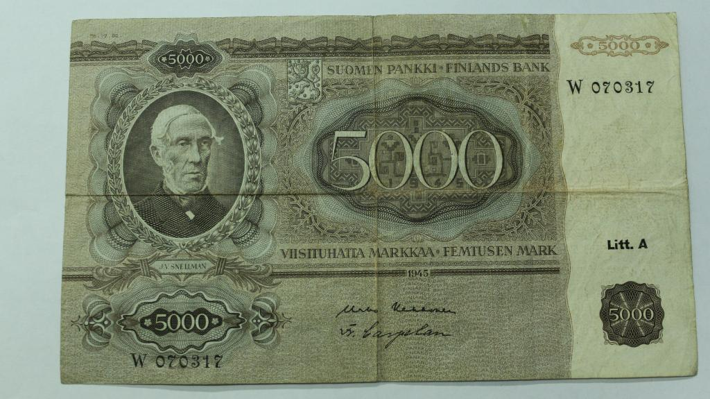 5000 марок 1945 год. Финляндия.