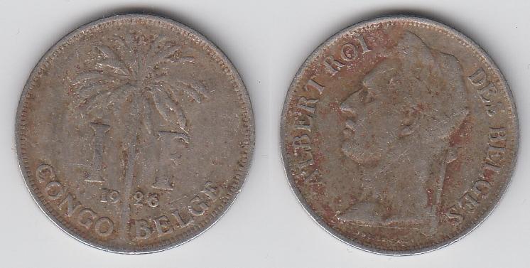 Бельгийское Конго 1 франк 1926  Des Belges _3