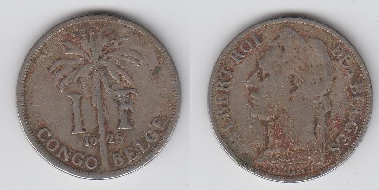 Бельгийское Конго 1 франк 1925  Des Belges _1