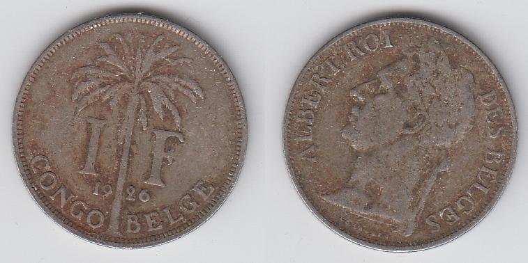 Бельгийское Конго 1 франк 1926  Des Belges _5