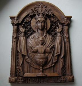 Резная деревянная Икона Неупиваемая Чаша