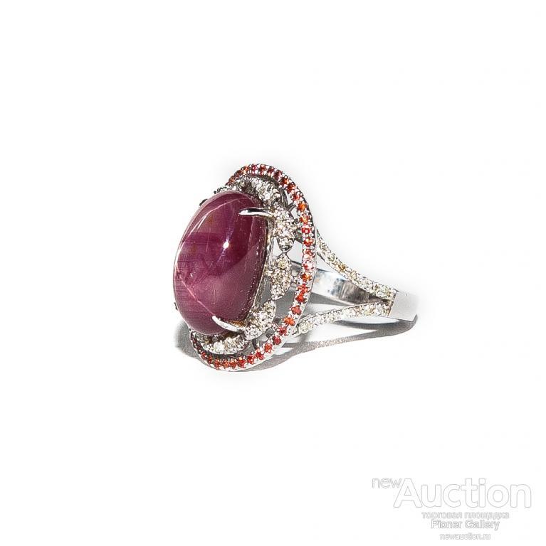 Уникальное кольцо с звездчатым рубином в 15,45 карат, бриллианты и сапфиры, экспертиза МГЛ