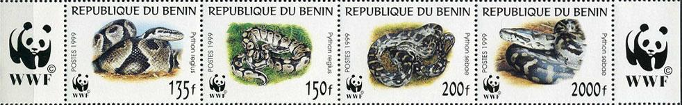 1999 Бенин фауна, змеи, WWF, 4 марки, MNH