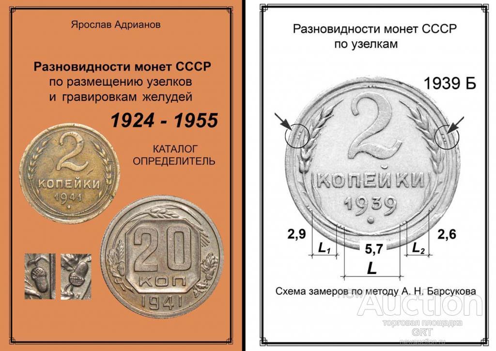 Разновидности монет ссср 1924–1955 гг по размещению узелков .