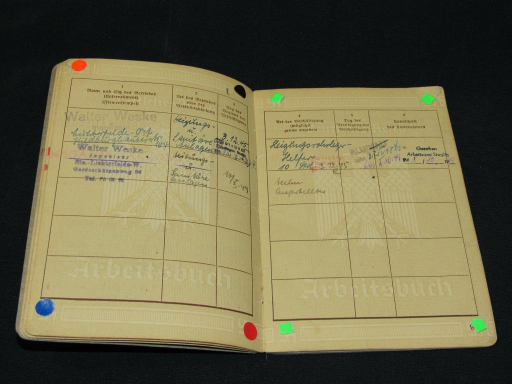 Документ, трудовая рабочая книжка - Arbeitsbuch, 3 рейх, 2 WK, Германия (оригинал) - 1