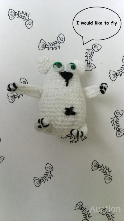 Белый кот амигуруми ручная работа мягкая игрушка связанная крючком