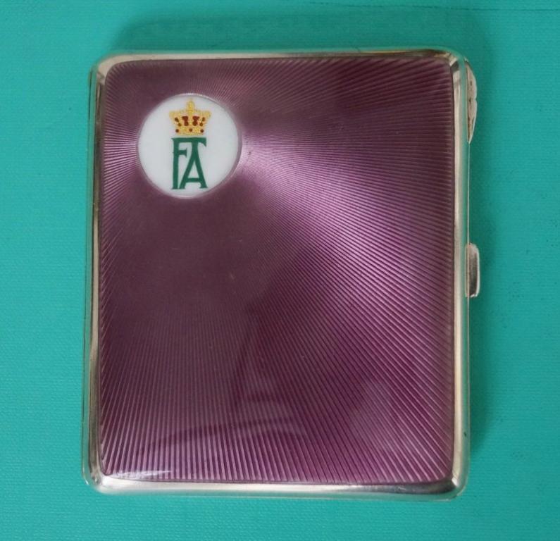 ПОРТСИГАР ГЕРМАНИЯ  подарок короля  Friedrich August III Von Sachsen  серебро 935   эмаль