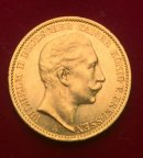 Золотая монета 20 марок 1910г.