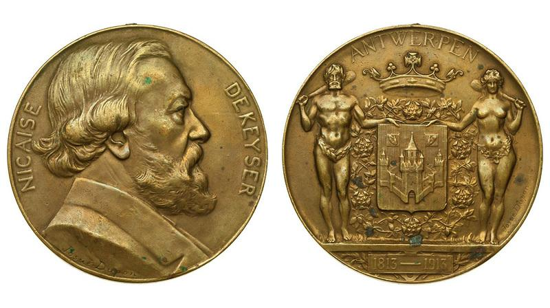 "-AS-  Бельгия Медаль ""Никез де Кейзер"" 1913 (бронза 72 мм) (424)"
