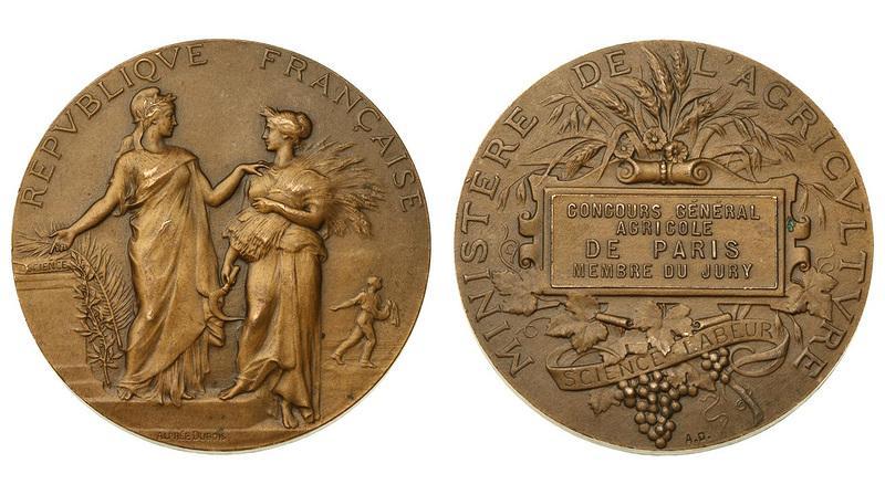 -AS-  Франция нач XX в. Медаль Министерства сельского хозяйства (бронза 50 мм) (426)