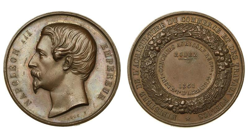 -AS-  Франция Наполеон III медаль 1861 (медь 51 мм) (427)