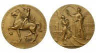 """-AS-  Бельгия Медаль """"Универсальная выставка в Брюселле"""" 1910 (бронза 72 мм) (425)"""