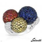 Кольцо salavetti (Италия) 6.60кт сапфиров и бриллиантов. Оригинал