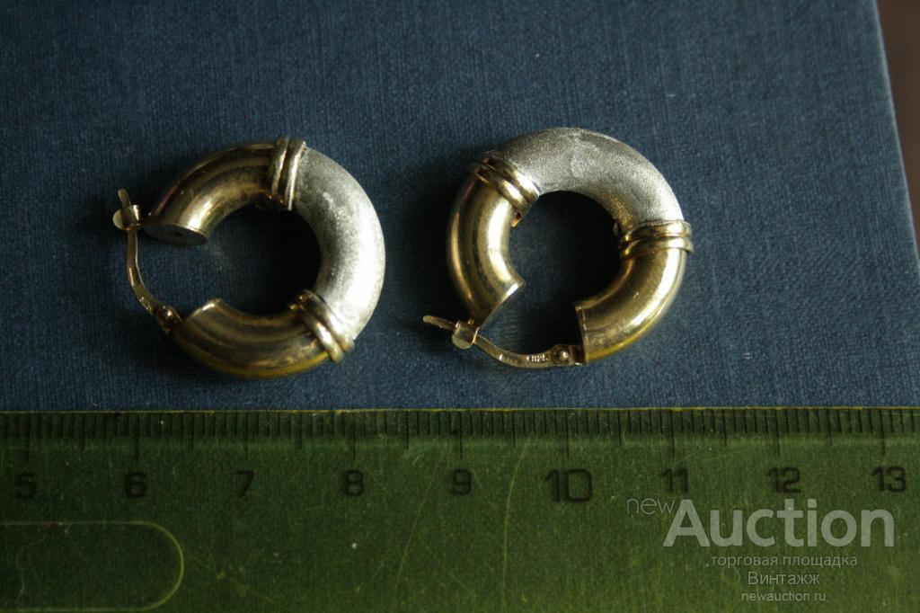 Серьги серебро 925 позолота