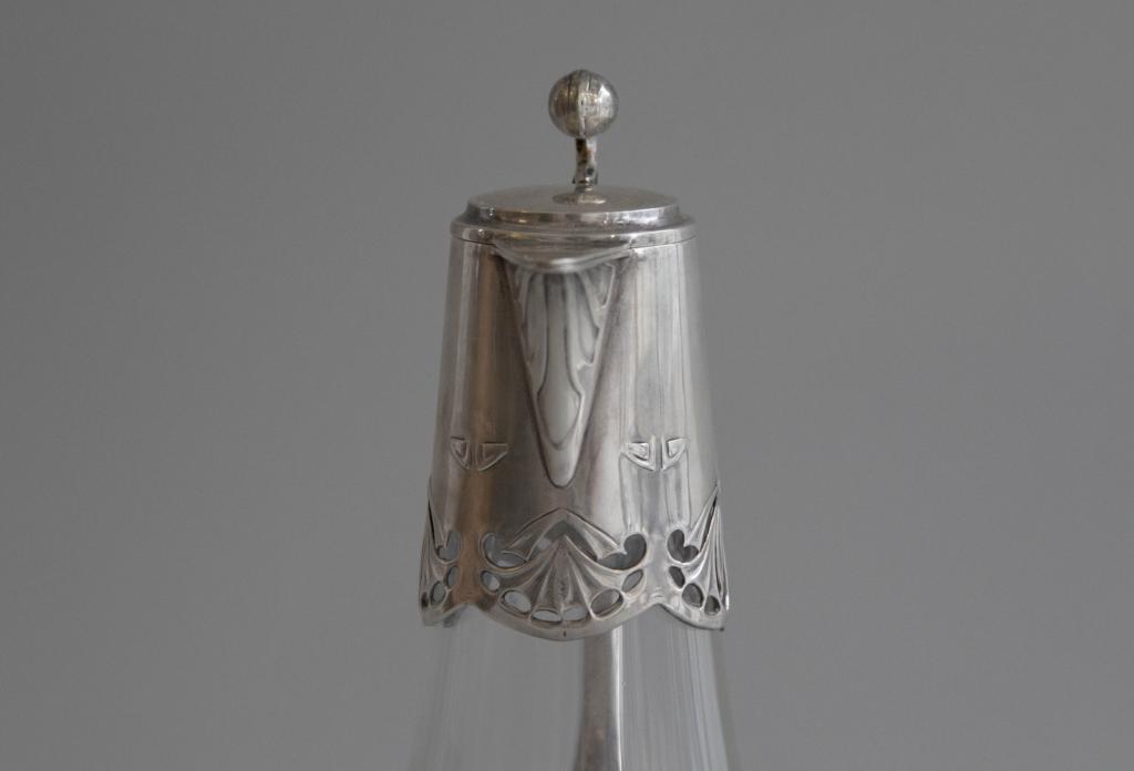 Графин в стиле югендстиль. Серебро, 800 проба, стекло. Антиквариат
