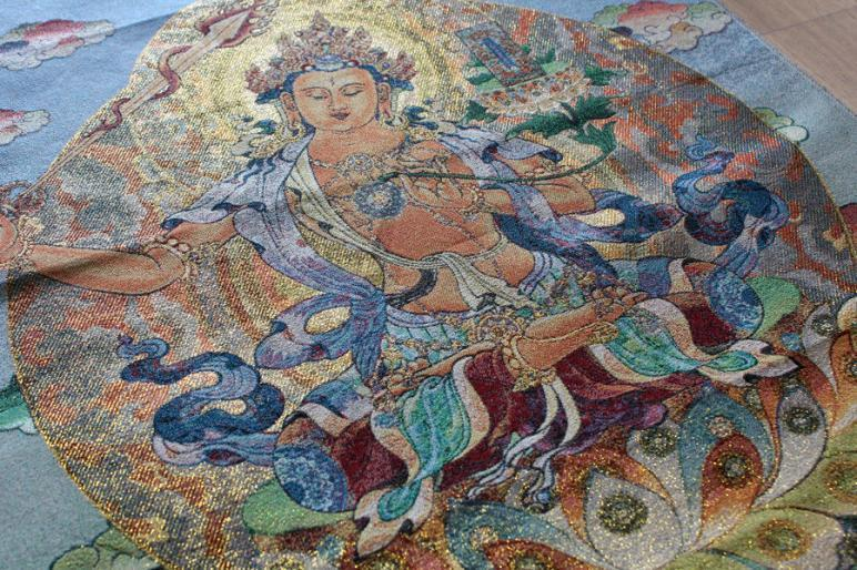 Танка Буддизм Тибет Kwan-yin Будда шелковая вышивка по парче