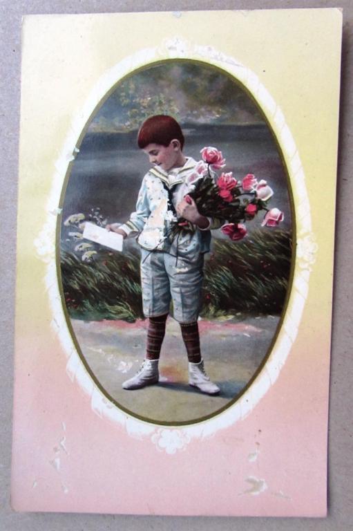 Марта, открытка мальчик с розами